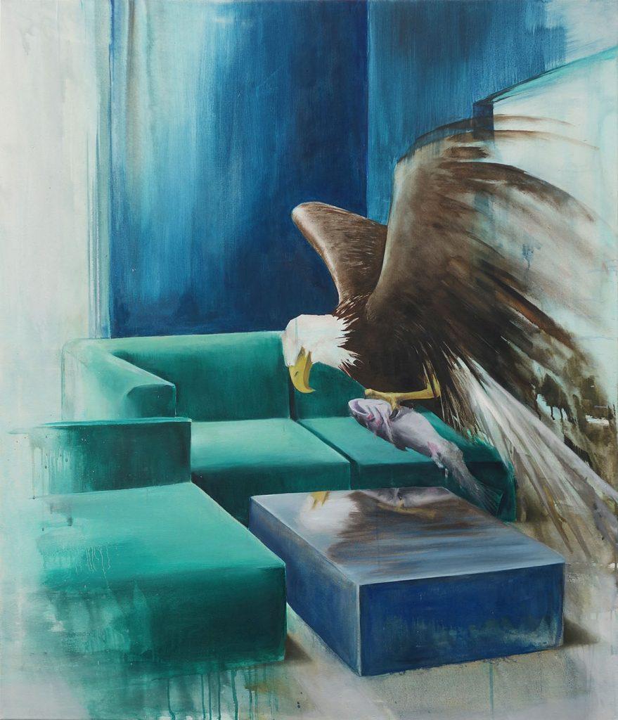 Malerei von Andrea Bock, Adler frisst Fisch auf Sofa
