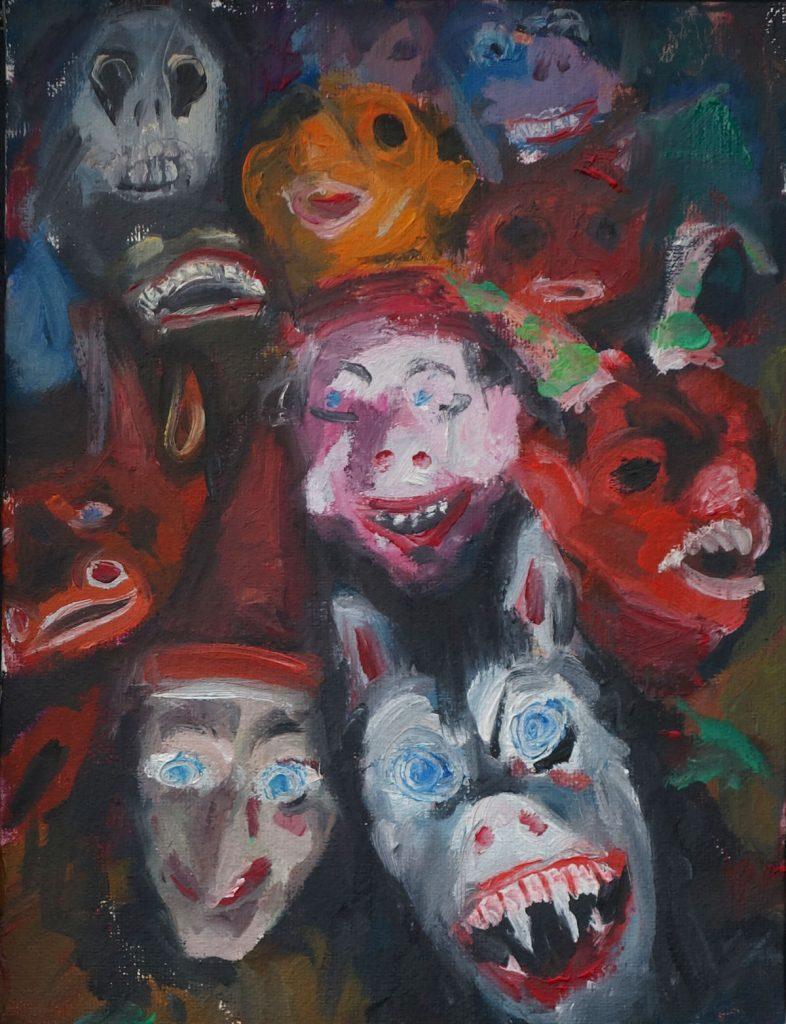 Malerei von Andrea Bock, Freakshow, ein Sammelsuriom aus Masken